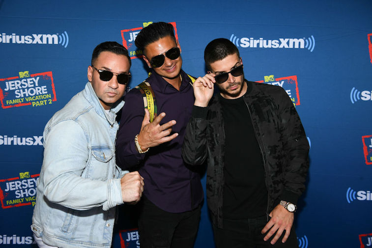 """Mike 'The Situation' Sorrentino (left) with co-stars Vinny Guadagnino and Paul """"Pauly D"""" DelVecchio"""