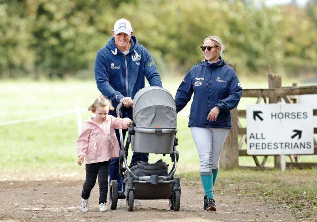 Mike Tindall, Zara Tindall, Mia Tindall, and Lena Tindall (in her stroller)