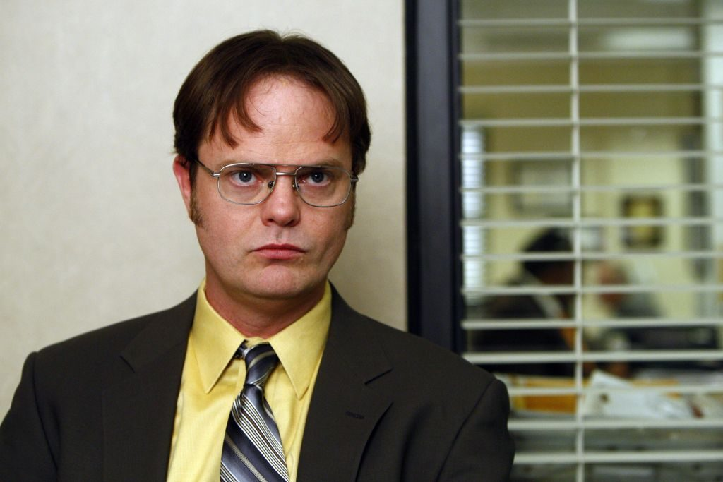 Rain Wilson in character as Dwight Schrute on 'The Office.'
