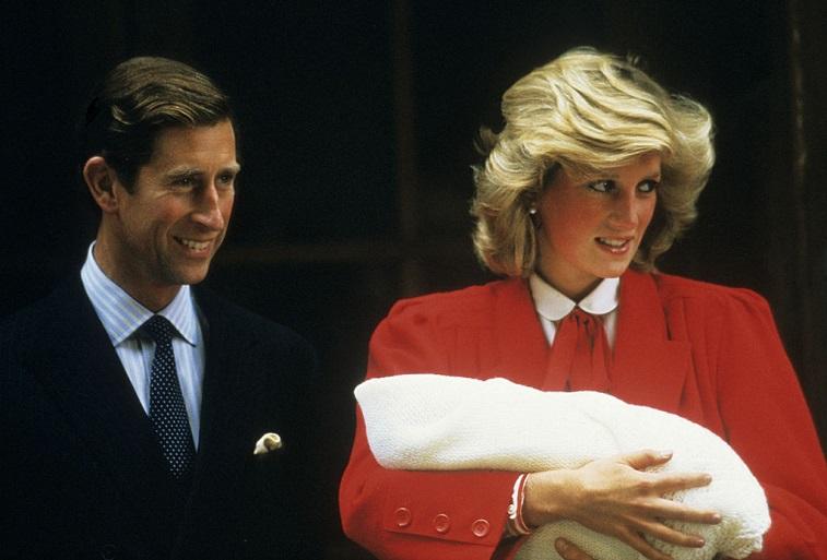 Prince Charles and Princess Diana with Prince Harry