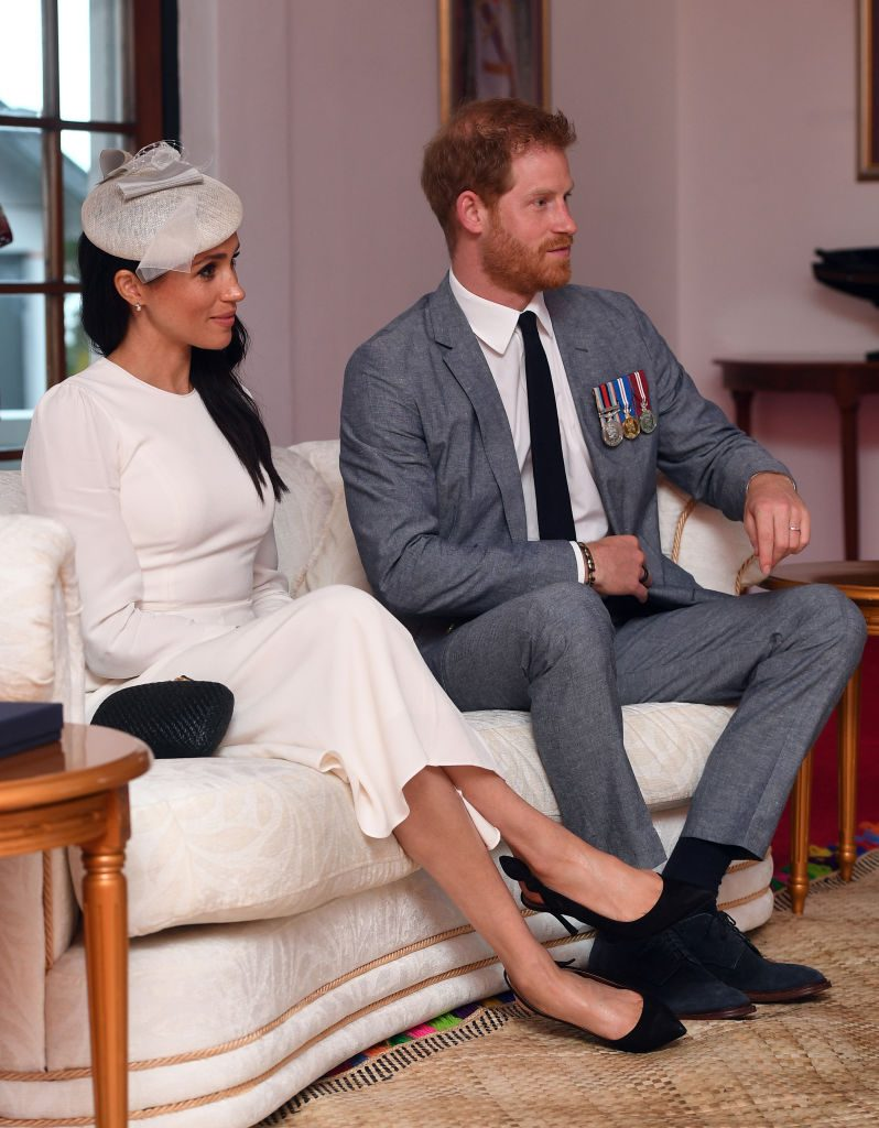Prince Harry, Duke of Sussex and Meghan, Duchess of Sussex during their meeting with President of Fiji Jioji Konrote