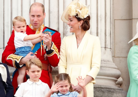 Prince William and Kate Middleton with their children Prince George, Princess Charlotte, and Prince Louis