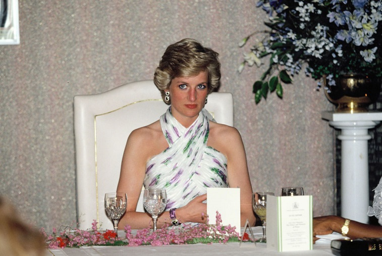 Princess Diana attends a banquet