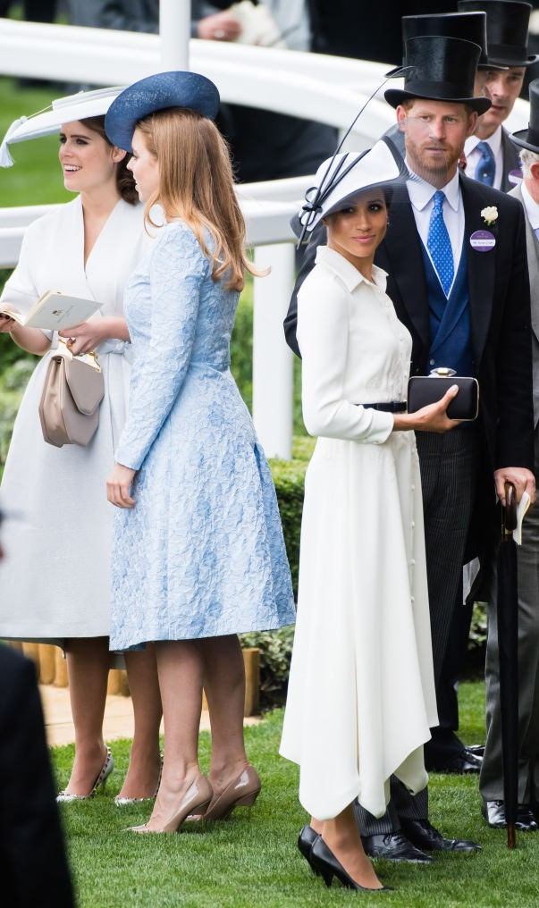 Princess Eugenie, Princess Beatrice, Meghan Markle, and Prince Harry