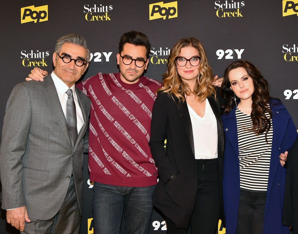 """Eugene Levy, Daniel Levy, Annie Murphy and Emily Hampshire of """"Schitt's Creek"""""""