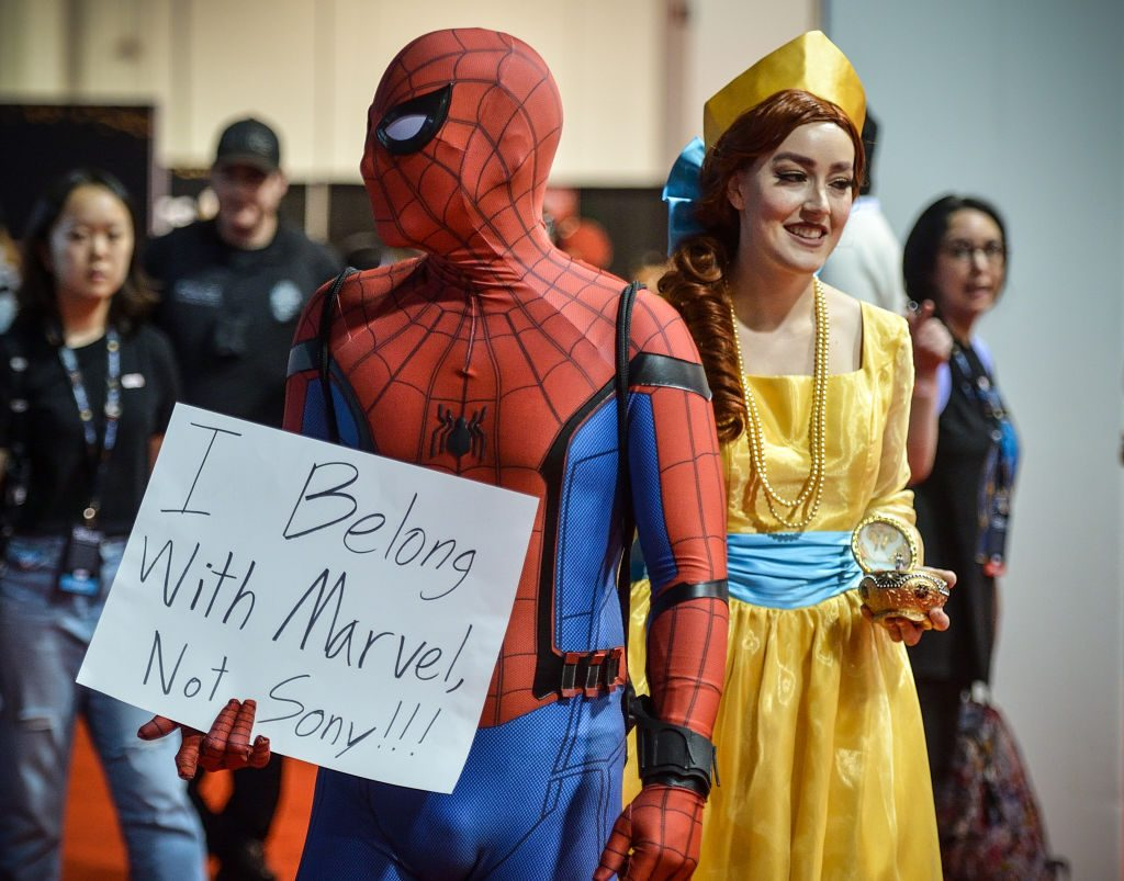 Dane Collaro, dressed as Spider-Man, shows his displeasure with the Sony/Disney spat