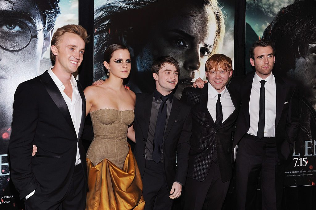 Harry Potter cast (Tom Felton, Emma Watson, Daniel Radcliffe, Rupert Grint, and Matthew Lewis) at the Deathly Hallows Part 2 premiere