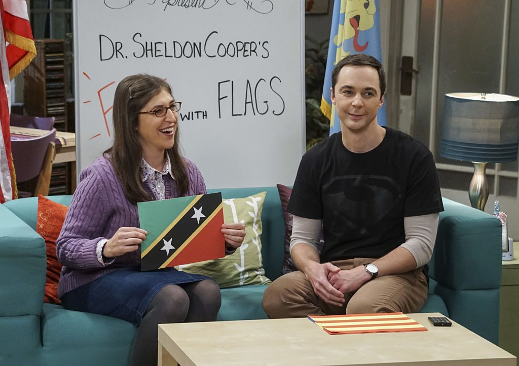 Amy Farrah Fowler (Mayim Bialik) and Sheldon Cooper (Jim Parsons) on 'The Big Bang Theory'