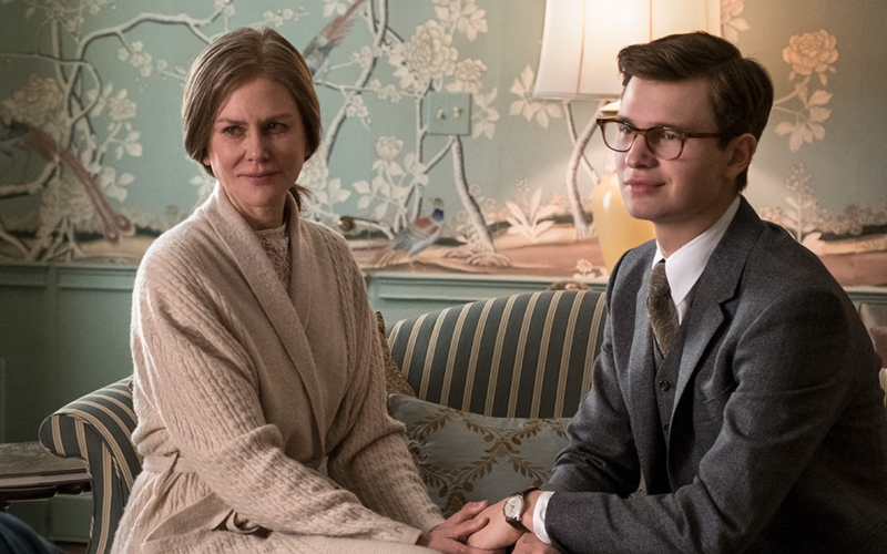Nicole Kidman as Mrs. Barbour and Ansel Elgort as Theodore Decker in 'The Goldfinch'
