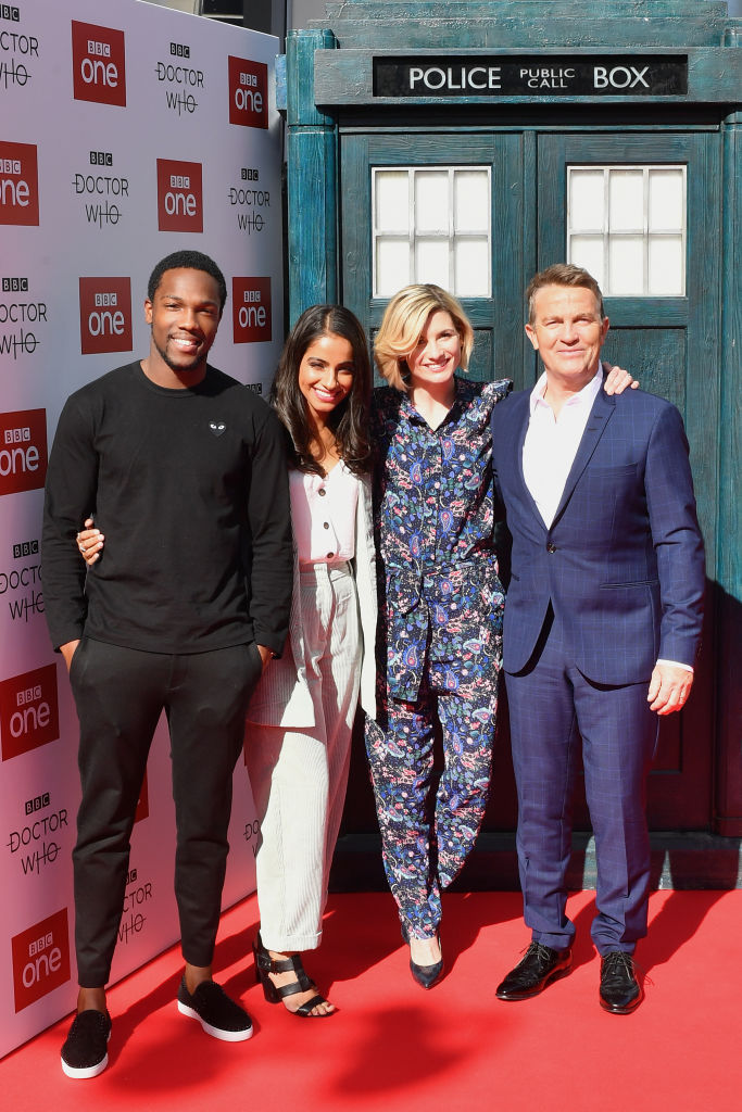 Doctor Who cast (Tosin Cole, Mandip Gill, Jodie Whittaker, Bradley Walsh) at the premiere