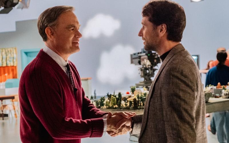 Mister Rogers (Tom Hanks) meets journalist Lloyd Vogel (Matthew Rhys) in 'A Beautiful Day in the Neighborhood'