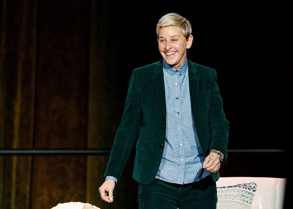 "Ellen DeGeneres seen onstage during ""A Conversation With Ellen DeGeneres"" at Rogers Arena."