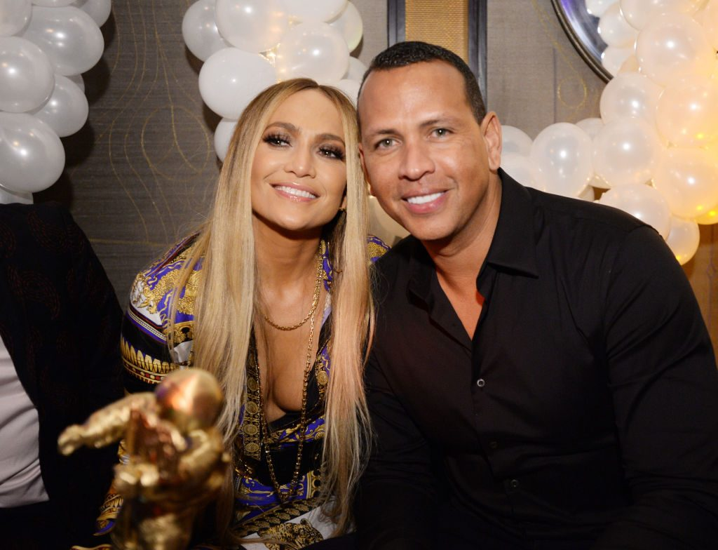 Jennifer Lopez and Alex Rodriguez at the MTV VMA's Vanguard Award Celebration At Beauty & Essex In New York.