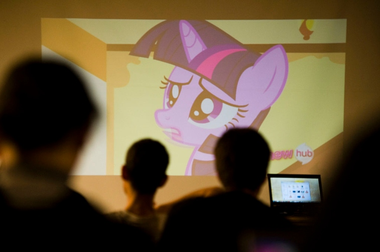 'My Little Pony' airing at library event.