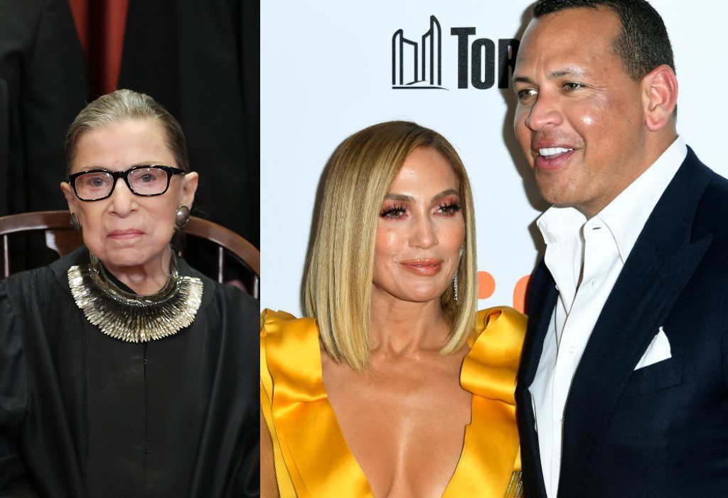 composite image of Ruth Bader Ginsburg, Jennifer Lopez, and Alex Rodriguez