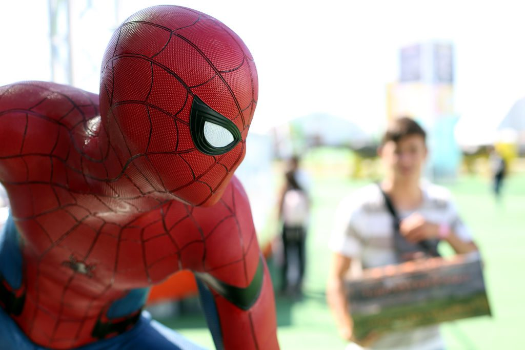 A Spider-Man figure is pictured during the Comic Con Portugal 2019.