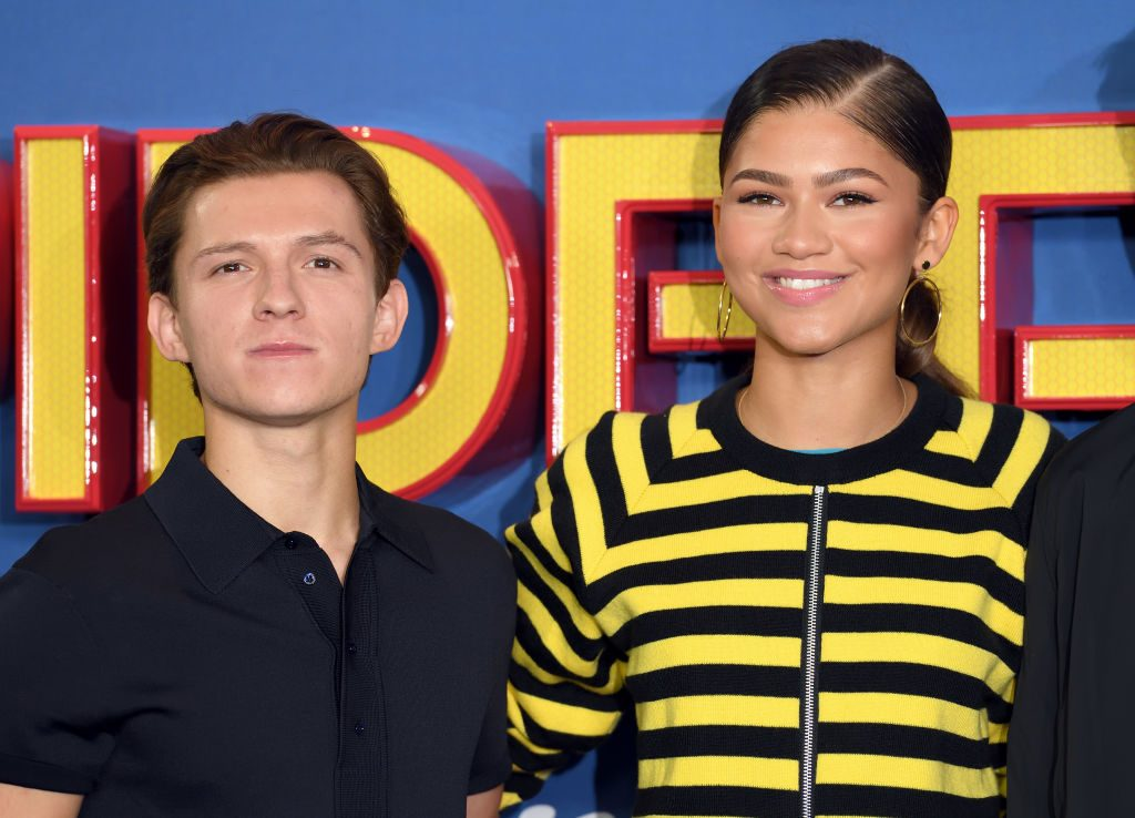 """Tom Holland and Zendaya attend the """"Spider-Man: Homecoming"""" photocall on June 15, 2017, in London, England."""