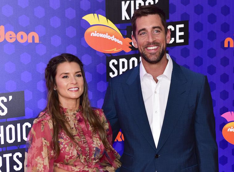 Danica Patrick and Aaron Rodgers on the red carpet