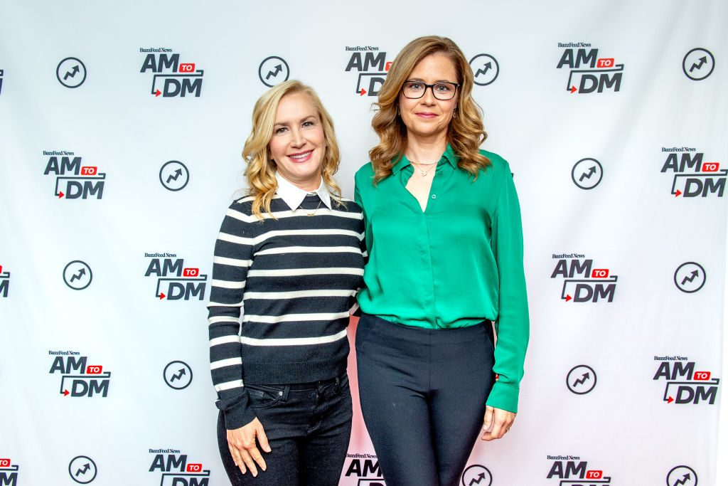 """Angela Kinsey and Jenna Fischer discuss """"The Office Ladies"""" with BuzzFeed's """"AM To DM"""""""
