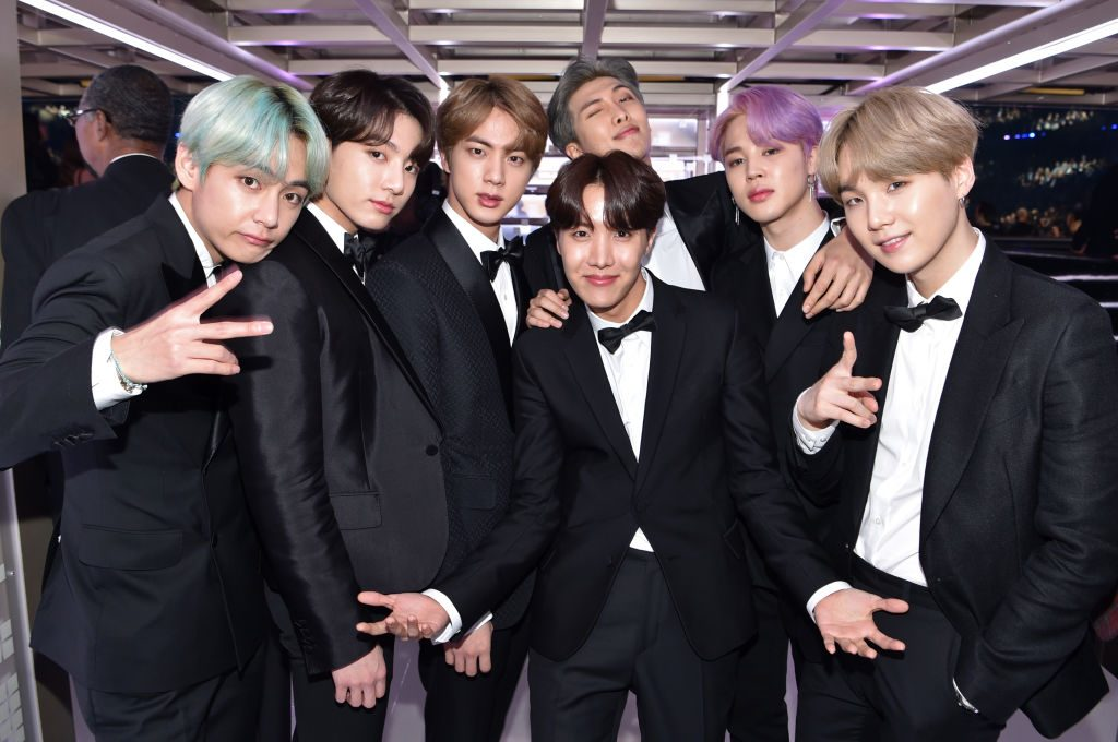 BTS backstage during the 61st Annual GRAMMY Awards