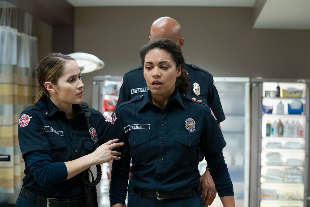 Jaina Lee Ortiz and Barrett Doss as Andy and Vic on 'Station 19'