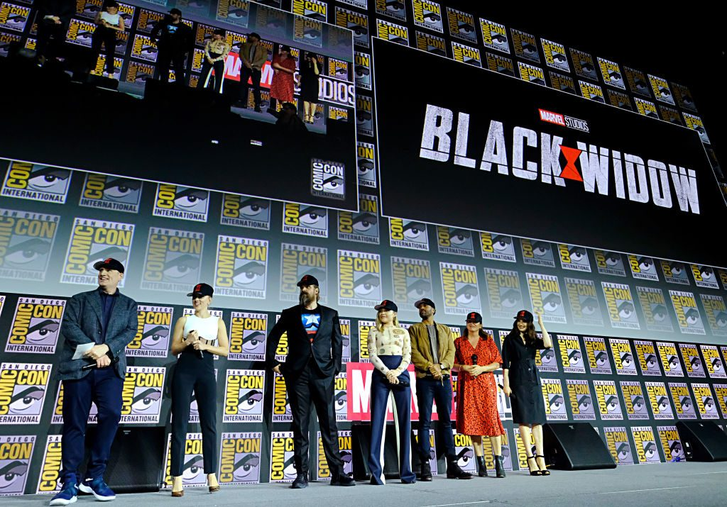 President of Marvel Studios Kevin Feige, Scarlett Johansson, David Harbour, Florence Pugh, O-T Fagbenle, Director Cate Shortland and Rachel Weisz of Marvel Studios' 'Black Widow'