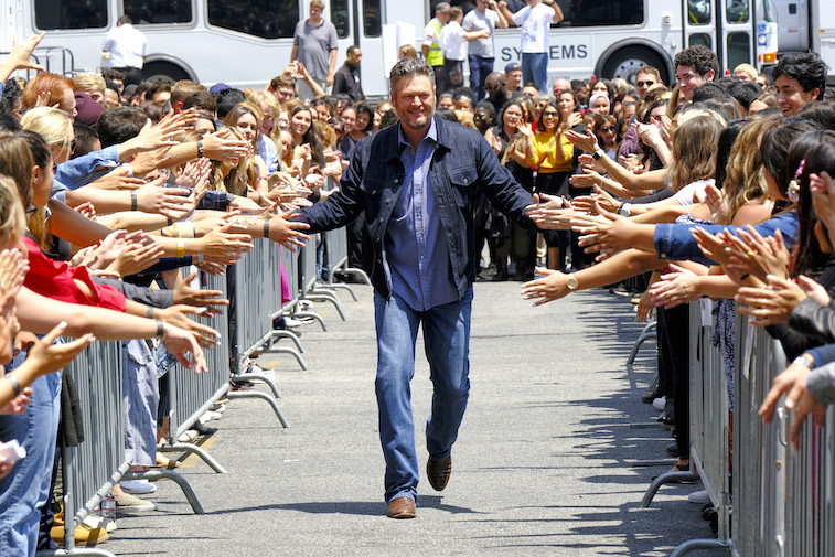 Blake Shelton greets fans on The Voice