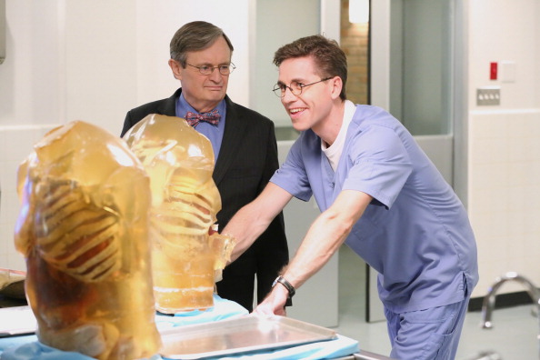 Brian Dietzen and David McCallum in the NCIS lab. | Robert Voets/CBS via Getty Images