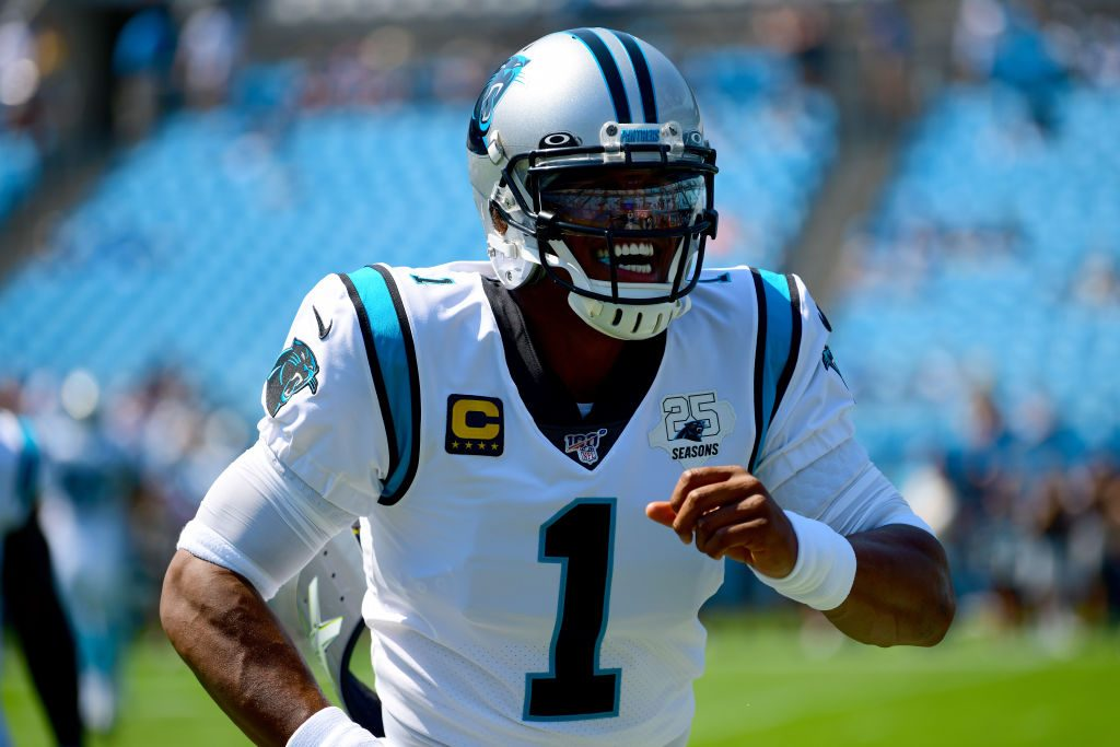 Cam Newton before their game against the Los Angeles Rams at Bank of America Stadium