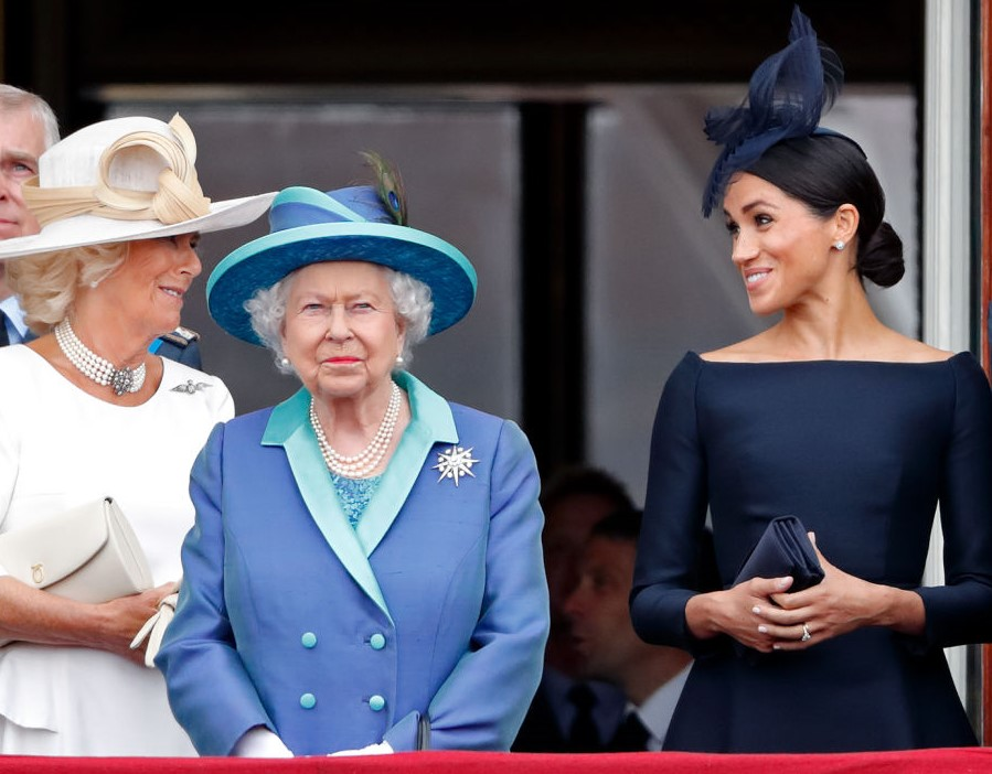 Camilla Parker Bowles, Queen Elizabeth, and Meghan Markle