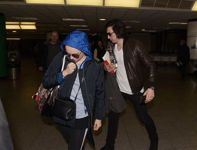 Adam Driver and Daisy Ridley arriving at Belfast International Airport