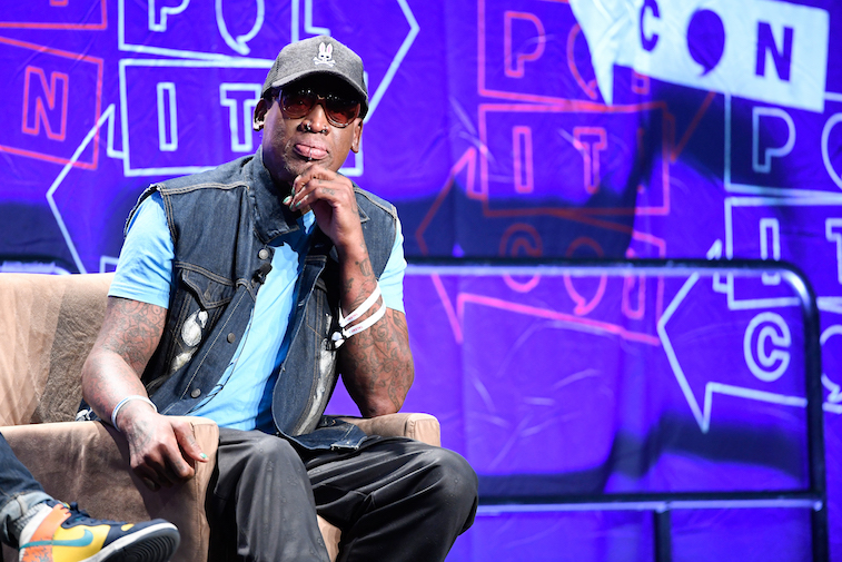 Dennis Rodman speaks onstage