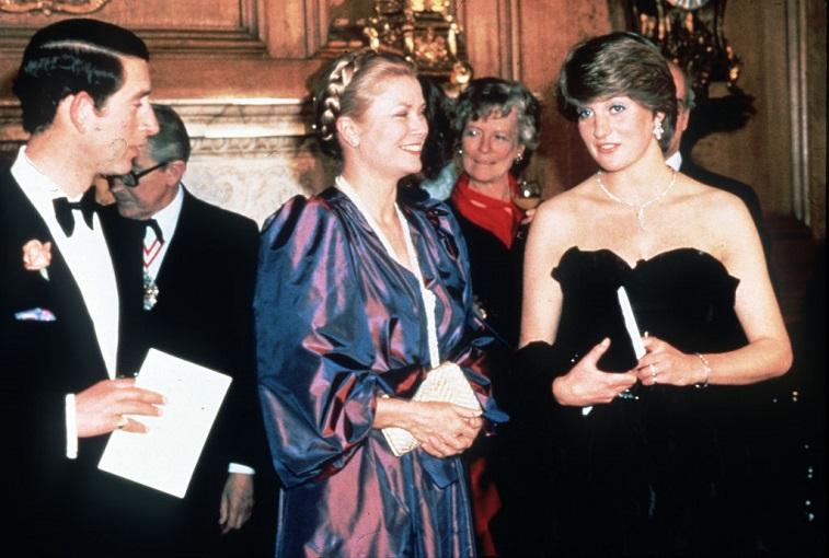 Lady Diana Spencer with Prince Charles and Princess Grace of Monaco
