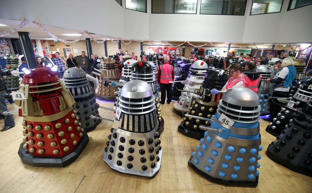 Daleks from Doctor Who gathered together to attempt a world record