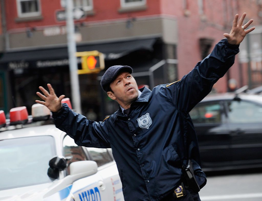 """Donnie Wahlberg filming on location for """"Blue Bloods"""" in 2013 in New York City 