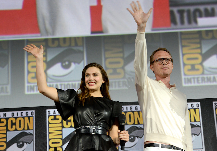 Elizabeth Olsen and Paul Bettany onstage at San Diego Comic-Con