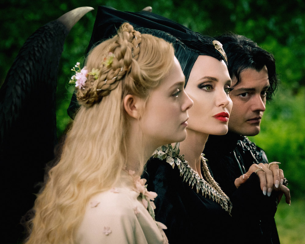 Elle Fanning, Angelina Jolie and Sam Riley