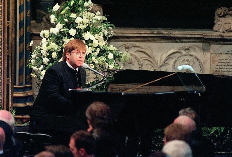 Sir Elton John at Princess Diana's funeral