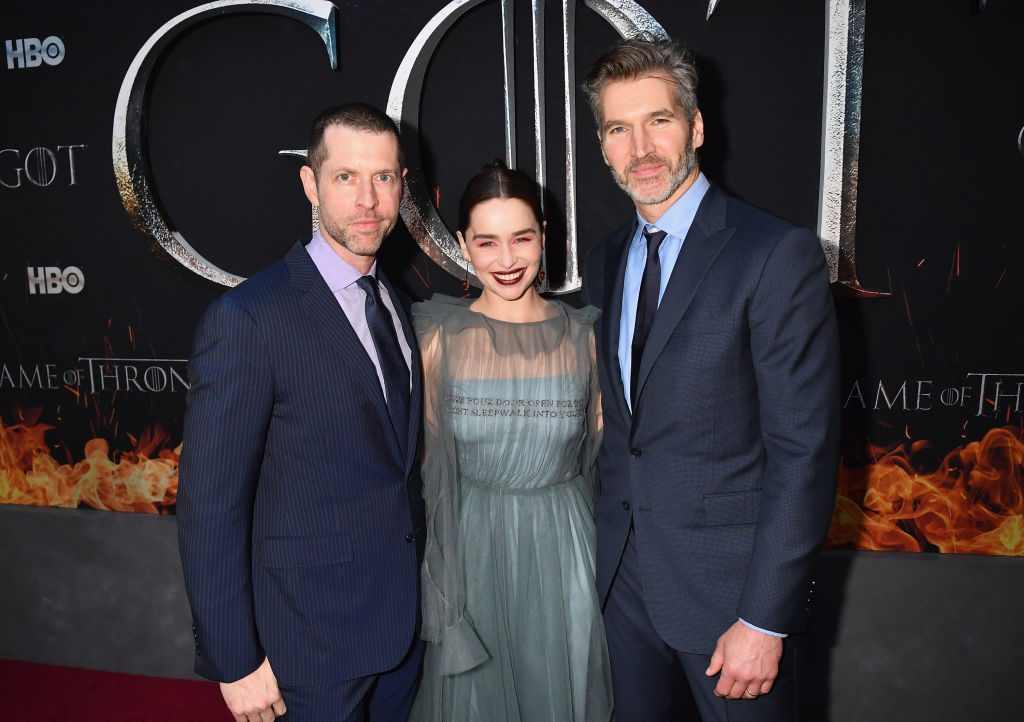 Sport of Thrones season Eight essential individual Emilia Clarke with D.B. Weiss and David Benioff