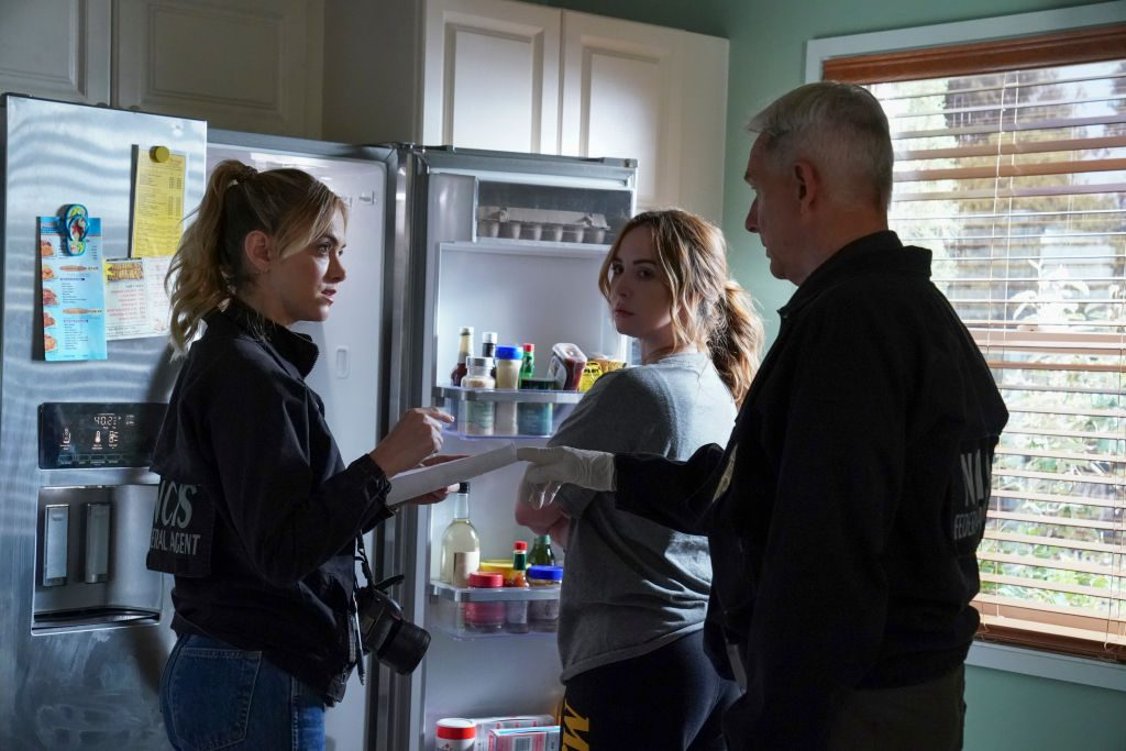 """Emily Wickersham as NCIS Special Agent Eleanor """"Ellie"""" Bishop, Camryn Grimes as Marine Corporal Laney Alimonte, and Mark Harmon as Agent Leroy Jethro Gibbs 