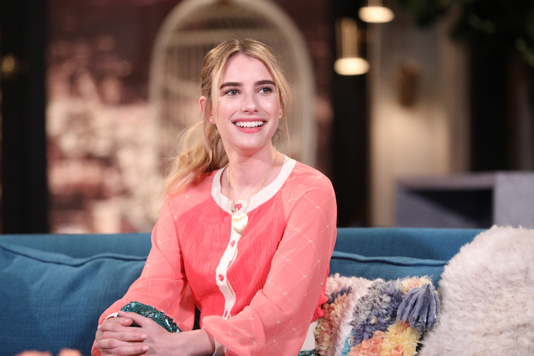 Emma Roberts on the set of Busy Tonight