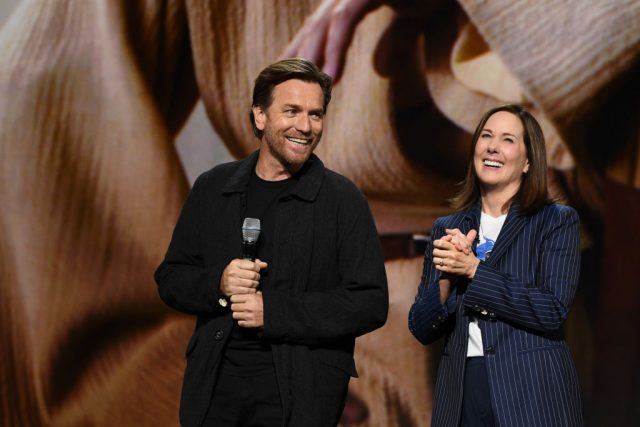 Ewan McGregor and Lucasfilm President Kathleen Kennedy at the D23 Expo
