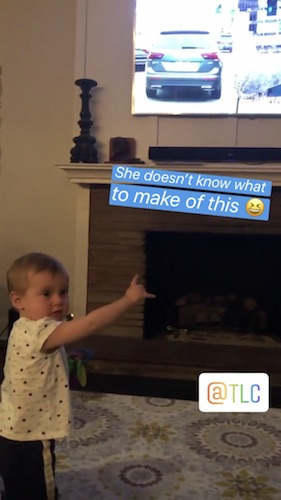 Vuolo captured Felicity waving to the television