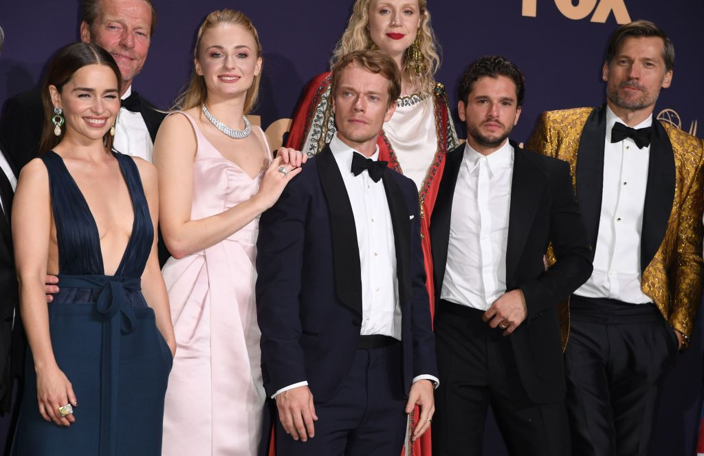 Game of Thrones cast (Emilia Clarke, Iain Glen, Sophie Turner, Alfie Allen, Gwendoline Christie, Kit Harington, Nicolaj Coster-Waldau) at the Emmys
