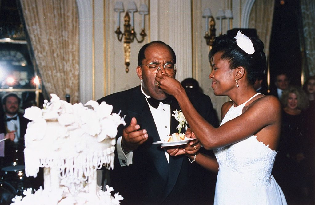 Al Roker and wife Deborah Roberts on their wedding day
