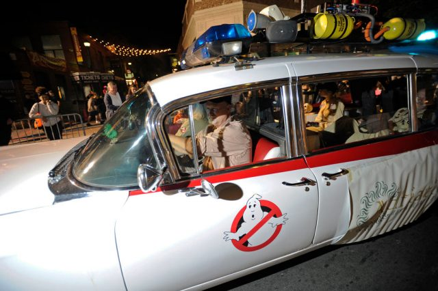 A Ghostbusters car replica at the Salem Chamber of Commerce Haunted Happenings Grand Parade