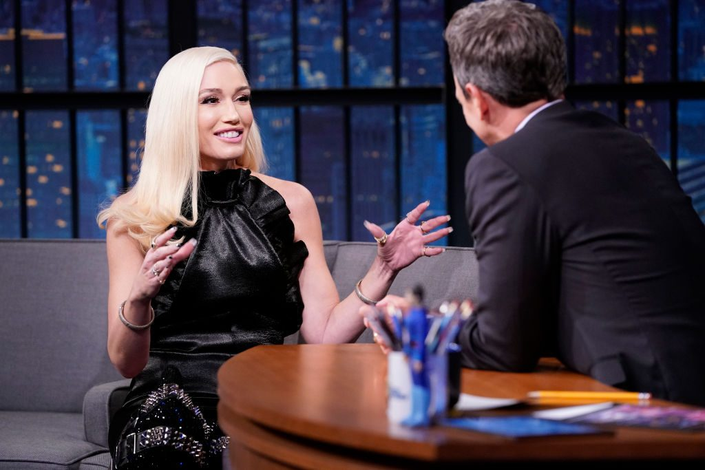 Gwen Stefani during an interview with Host Seth Meyers