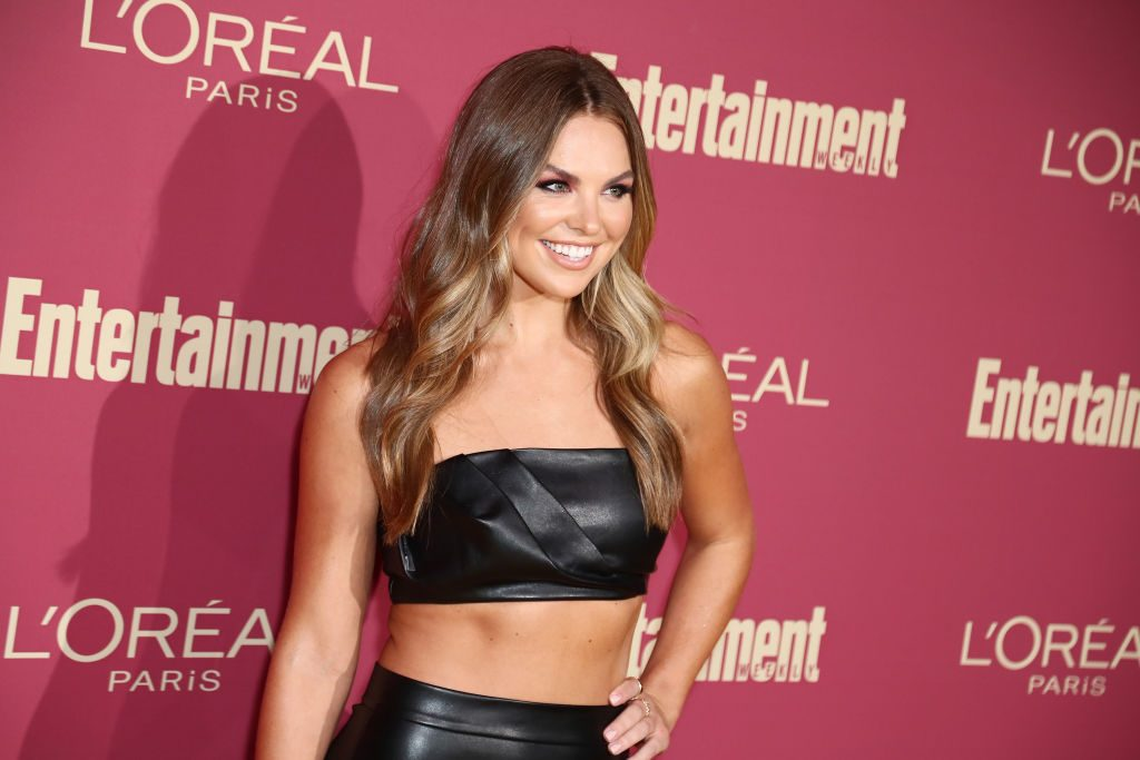 Hannah Brown star of The Bachelor attends an Emmy pre-party.
