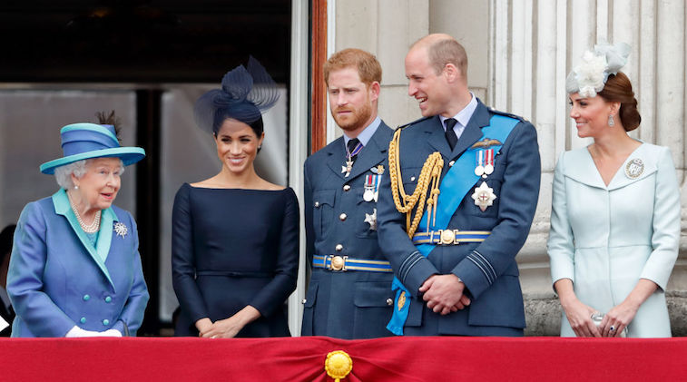Queen Elizabeth with Meghan Markle, Prince Harry, Prince William, and Kate Middleton