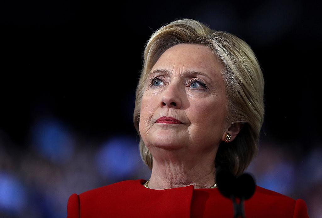 Hillary Clinton speaks onstage